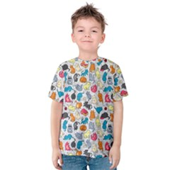 Funny Cute Colorful Cats Pattern Kids  Cotton Tee