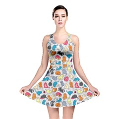Funny Cute Colorful Cats Pattern Reversible Skater Dress