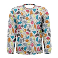 Funny Cute Colorful Cats Pattern Men s Long Sleeve Tee by EDDArt