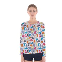 Funny Cute Colorful Cats Pattern Women s Long Sleeve Tee by EDDArt