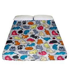Funny Cute Colorful Cats Pattern Fitted Sheet (queen Size) by EDDArt