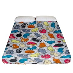 Funny Cute Colorful Cats Pattern Fitted Sheet (king Size) by EDDArt