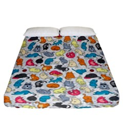 Funny Cute Colorful Cats Pattern Fitted Sheet (california King Size) by EDDArt
