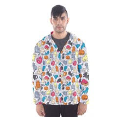 Funny Cute Colorful Cats Pattern Hooded Windbreaker (men)