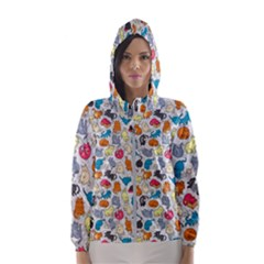 Funny Cute Colorful Cats Pattern Hooded Windbreaker (women)