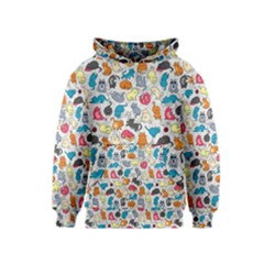 Funny Cute Colorful Cats Pattern Kids  Pullover Hoodie by EDDArt