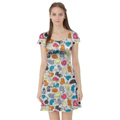 Funny Cute Colorful Cats Pattern Short Sleeve Skater Dress