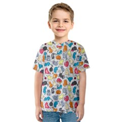 Funny Cute Colorful Cats Pattern Kids  Sport Mesh Tee