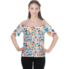 Funny Cute Colorful Cats Pattern Cutout Shoulder Tee