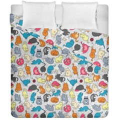 Funny Cute Colorful Cats Pattern Duvet Cover Double Side (california King Size)