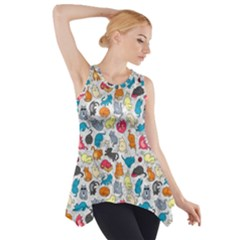 Funny Cute Colorful Cats Pattern Side Drop Tank Tunic by EDDArt