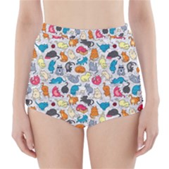 Funny Cute Colorful Cats Pattern High Waisted Bikini Bottoms