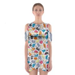 Funny Cute Colorful Cats Pattern Shoulder Cutout One Piece by EDDArt