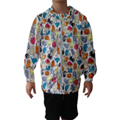 Funny Cute Colorful Cats Pattern Hooded Windbreaker (kids)