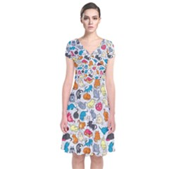 Funny Cute Colorful Cats Pattern Short Sleeve Front Wrap Dress by EDDArt
