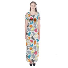 Funny Cute Colorful Cats Pattern Short Sleeve Maxi Dress