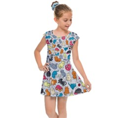Funny Cute Colorful Cats Pattern Kids Cap Sleeve Dress by EDDArt