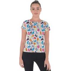 Funny Cute Colorful Cats Pattern Short Sleeve Sports Top