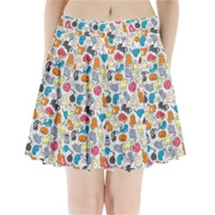 Funny Cute Colorful Cats Pattern Pleated Mini Skirt
