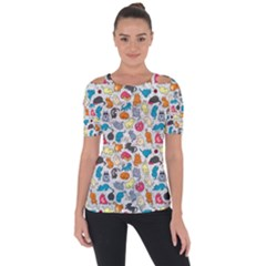 Funny Cute Colorful Cats Pattern Short Sleeve Top by EDDArt