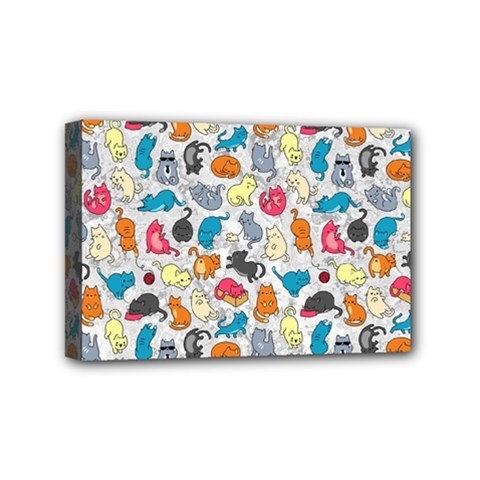 Funny Cute Colorful Cats Pattern Mini Canvas 6  X 4
