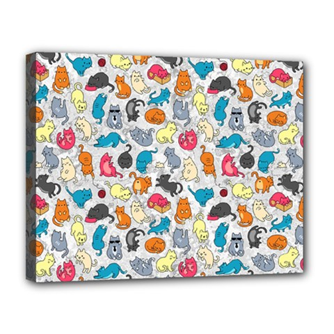 Funny Cute Colorful Cats Pattern Canvas 14  X 11  by EDDArt