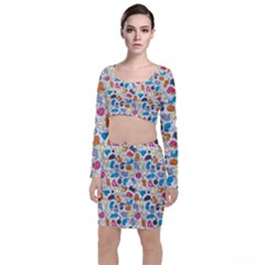 Funny Cute Colorful Cats Pattern Long Sleeve Crop Top & Bodycon Skirt Set