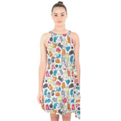 Funny Cute Colorful Cats Pattern Halter Collar Waist Tie Chiffon Dress by EDDArt