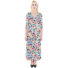 Funny Cute Colorful Cats Pattern Quarter Sleeve Wrap Maxi Dress by EDDArt