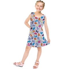 Funny Cute Colorful Cats Pattern Kids  Tunic Dress