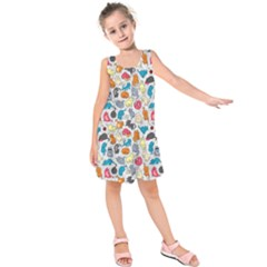 Funny Cute Colorful Cats Pattern Kids  Sleeveless Dress