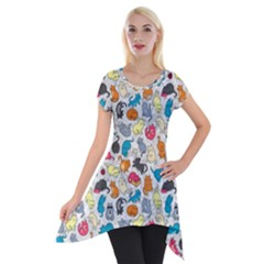 Funny Cute Colorful Cats Pattern Short Sleeve Side Drop Tunic by EDDArt