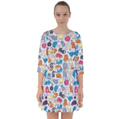 Funny Cute Colorful Cats Pattern Smock Dress