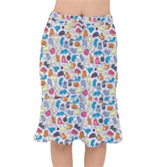 Funny Cute Colorful Cats Pattern Mermaid Skirt