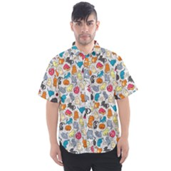 Funny Cute Colorful Cats Pattern Men s Short Sleeve Shirt