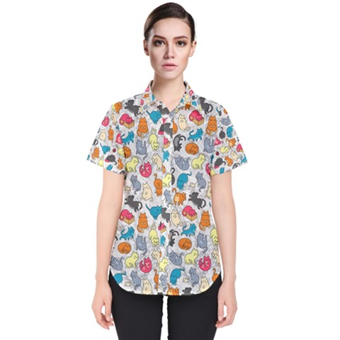 Funny Cute Colorful Cats Pattern Women s Short Sleeve Shirt by EDDArt
