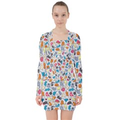 Funny Cute Colorful Cats Pattern V Neck Bodycon Long Sleeve Dress