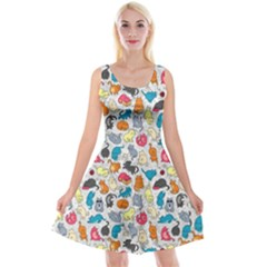 Funny Cute Colorful Cats Pattern Reversible Velvet Sleeveless Dress
