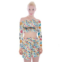 Funny Cute Colorful Cats Pattern Off Shoulder Top With Mini Skirt Set