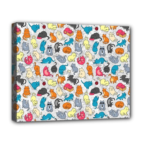 Funny Cute Colorful Cats Pattern Deluxe Canvas 20  X 16   by EDDArt