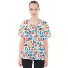 Funny Cute Colorful Cats Pattern V Neck Dolman Drape Top