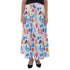 Funny Cute Colorful Cats Pattern Flared Maxi Skirt
