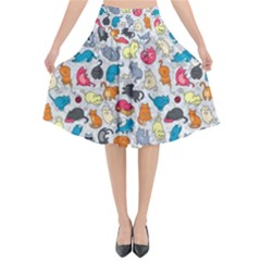 Funny Cute Colorful Cats Pattern Flared Midi Skirt