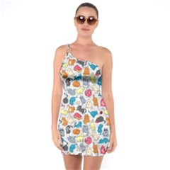 Funny Cute Colorful Cats Pattern One Soulder Bodycon Dress