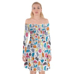 Funny Cute Colorful Cats Pattern Off Shoulder Skater Dress