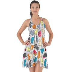 Funny Cute Colorful Cats Pattern Show Some Back Chiffon Dress