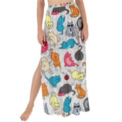 Funny Cute Colorful Cats Pattern Maxi Chiffon Tie-up Sarong by EDDArt