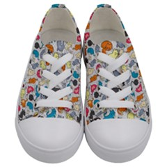 Funny Cute Colorful Cats Pattern Kids  Low Top Canvas Sneakers