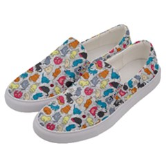 Funny Cute Colorful Cats Pattern Men s Canvas Slip Ons by EDDArt