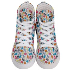 Funny Cute Colorful Cats Pattern Women s Hi Top Skate Sneakers